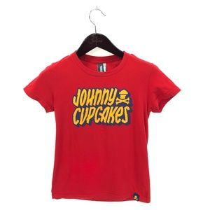 JOHNNY CUPCAKES M Medium T-shirt Red Spellout